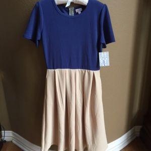 NWT LuLaRoe Amelia Colorblock Swing Dress L